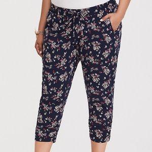 Torrid Navy Floral Crop Challis Pants